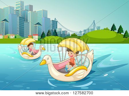 Children riding on duck boat in the lake illustration