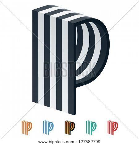 Vector stripped 3D alphabet. Optional different colors. Letter P
