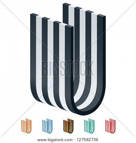 Vector stripped 3D alphabet. Optional different colors. Letter U