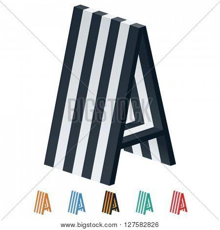 Vector stripped 3D alphabet. Optional different colors. Letter A