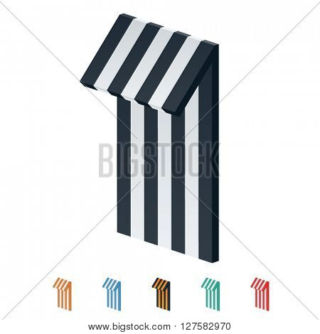 Vector stripped 3D alphabet. Optional different colors. Number 1