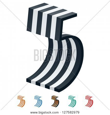 Vector stripped 3D alphabet. Optional different colors. Number 5