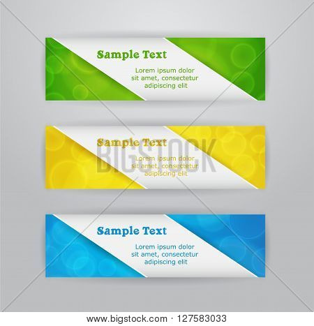 Set of three horizontal banners with colored blurred background and tape of paper with text