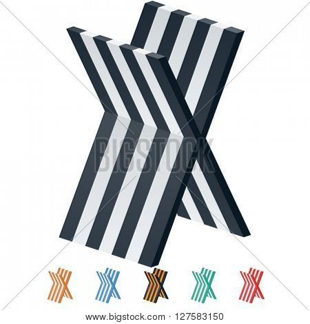 Vector stripped 3D alphabet. Optional different colors. Letter X