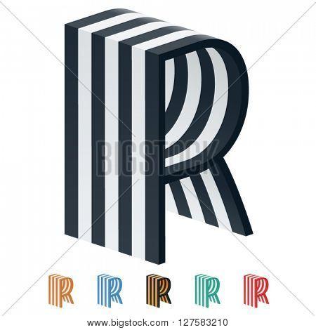 Vector stripped 3D alphabet. Optional different colors. Letter R