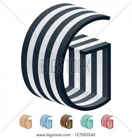 Vector stripped 3D alphabet. Optional different colors. Letter G