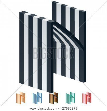 Vector stripped 3D alphabet. Optional different colors. Letter L