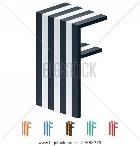 Vector stripped 3D alphabet. Optional different colors. Letter F
