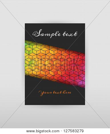 Dark flyer with hand drawn pattern of colored cubes