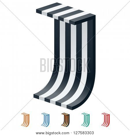 Vector stripped 3D alphabet. Optional different colors. Letter J