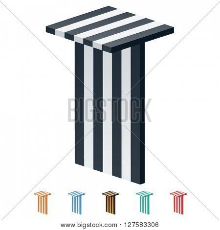 Vector stripped 3D alphabet. Optional different colors. Letter T