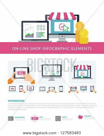 On-line shopping inforaphic elements set, mobile banking, online purchasing. Vector template for on-line technology infographic concept, online store illustration. Investmant statistic and on-line shopping