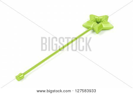 Green magic wand on white background, 3D illustration