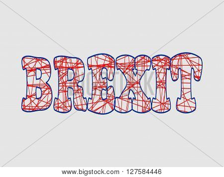 United Kingdom exit from European Union relative image. Brexit named politic process. Referendum theme. Pencil strokes lettering