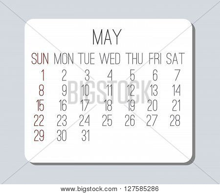 May 2016 plain vector monthly calendar. Week starting from Sunday. Clean light design over light gray background.