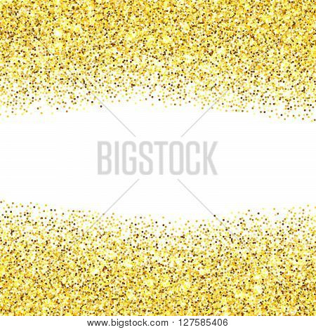 Gold glitter texture borders over white background. Abstract golden sparkles of confetti. Vector illustration with room for your text.