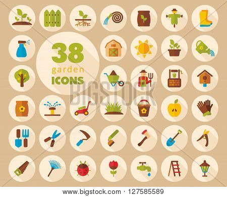 Garden Farm flat vector icon outline isolated garden eps 10