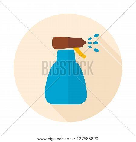 Icon flat of spray bottle with liquid outline isolated garden atomizer pulverizer sprayer eps 10