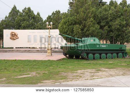 Vityazevo, Russia - March 14, 2016: View Of The Monument To The Fallen Soldiers Vityazevo Village In
