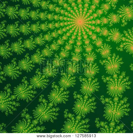 Green And Orange Fractal Ornaments In Dark Green Background. Computer Generated Graphics.