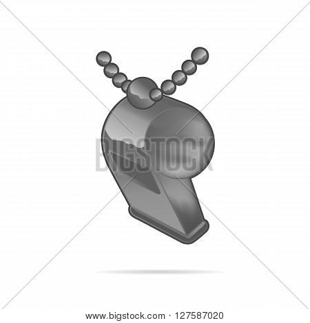 Metal Whistle With Chain Isolated On White Background