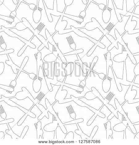 Seamless Cutlery Silverware Pattern Outline Series Background