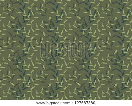 Seamless Leaves And Branch Floral Camo Pattern Background