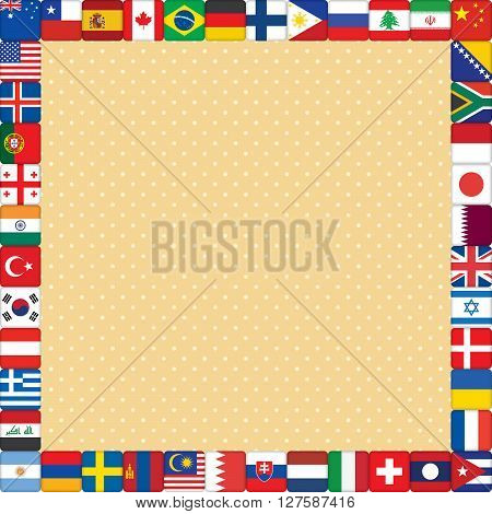 square orange polka dot background with world flags frame