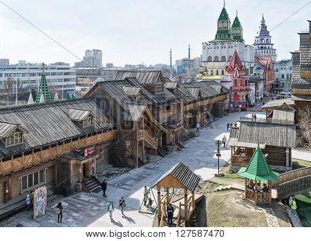 Moscow Russia - April 17 2016: Kremlin in Izmailovo district - unique center of culture and entertainment.