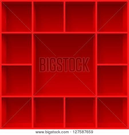Red bookshelves. Illustration for creative design template