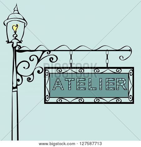 Atelier Retro vintage street sign. Vector illustration of the sign. Background with text
