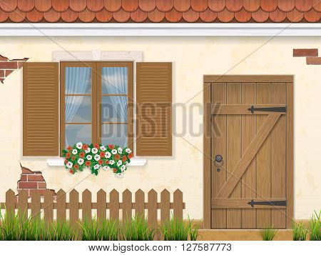 The facade of the old building. Wooden window door and fence with grass in the foreground. Traditional architectural style. Vector illustration.