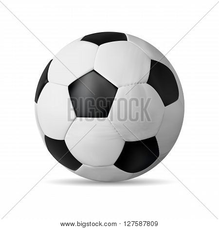 Realistic Soccer Ball Isolated On White With Shadow