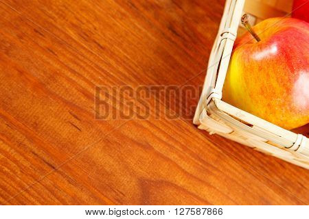Apples On A Wooden Table. Free Space For Text . Top View
