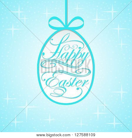 illustration background with lettering on the theme of Easter eg