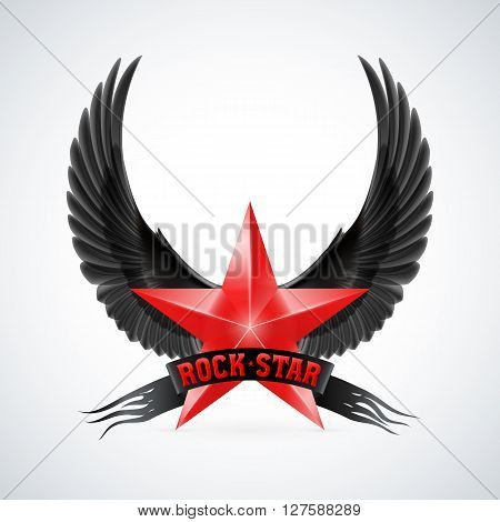 Red star with Rock Star banner and black wings. Illustration on white background