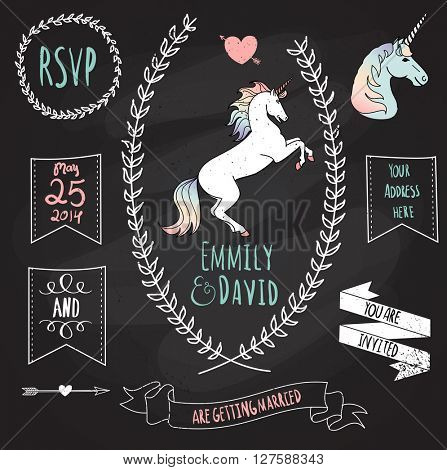 Wedding Invitation Template with the unicorn. Chalkboard style vector card