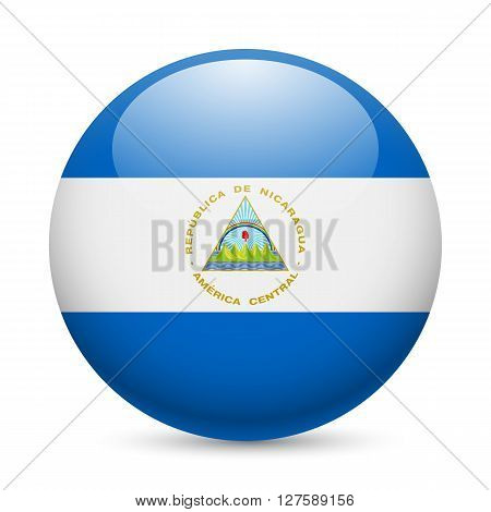 Flag of Nicaragua as round glossy icon. Button with Nicaraguan flag