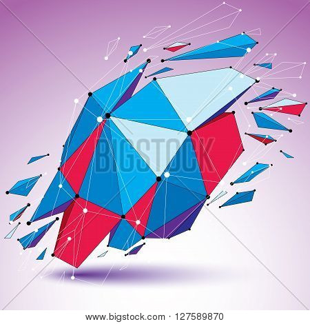 3d vector low poly digital object with connected lines and dots colorful geometric wireframe shape with different fractures. Asymmetric perspective shattered form.