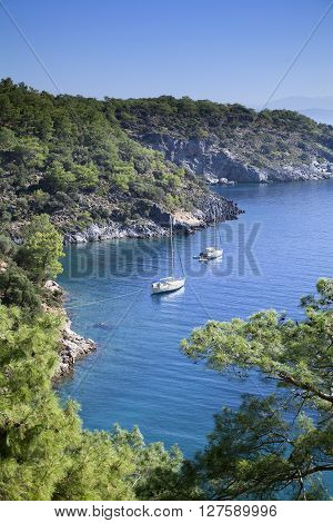 Scenic bay near to Kemer, Turkey, view from above
