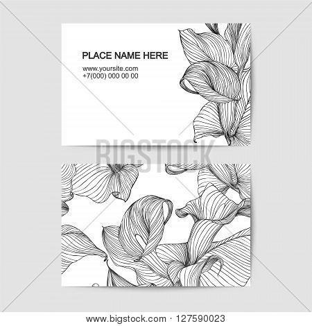 Visit Card Template With Calla Lily For Florist Salon