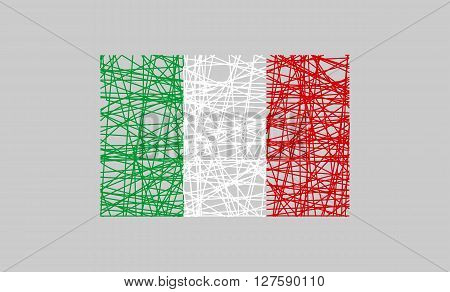 Italy flag design concept. Flag painted by pencil strokes and country name. Image relative to travel and politic themes