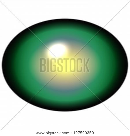 Isolated Green Yellow Eye. Green Smooth Iris Around Elliptic Yellow Retina.
