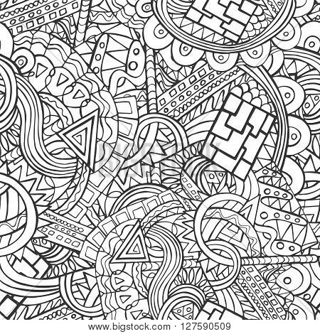 Doodle Seamless Pattern With The Random Shapes And Lines