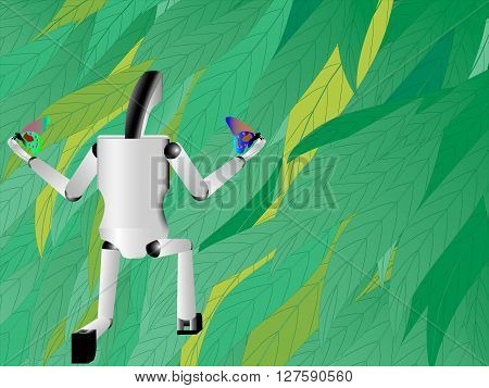 robot hand holds butterfly robot on a background of nature technology and nature together robot stands on one knee and launches butterflies