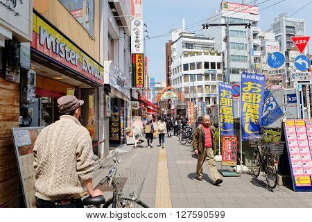 TOKYO - MARCH 31, 2016: lifestyle around Koenji Station on MARCH 31,2016 in Tokyo. Koenji is famous firstly as a center of alternative youth culture,in particular for its second-hand clothing stores