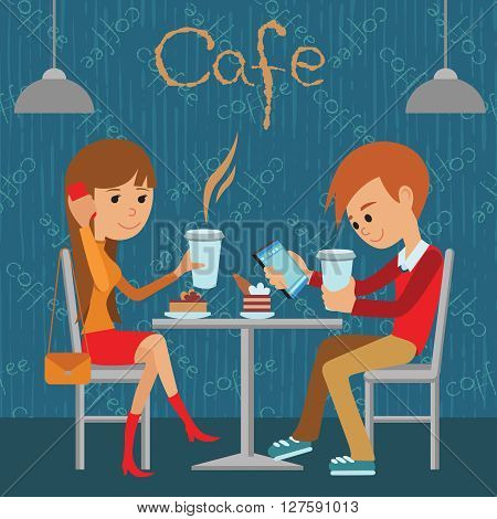 Couple sitting in the cafe, flirting and talking about something. Vector illustration of template for menu, brochure, flyers for a cafe or restaurant.