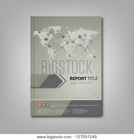Brochures book or flyer with network connection design vector eps 10
