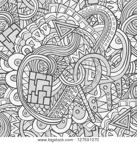 Doodle Monochrome Seamless Pattern With The Random Shapes And Lines