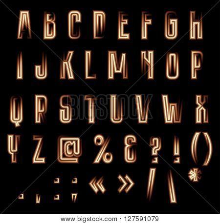 Stylish vector luminous alphabet. Neon lucent letters and symbols on black background